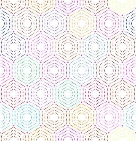 Geometric repeating vector ornament with hexagonal dotted colored elements. Geometric modern ornament. Seamless abstract modern pattern