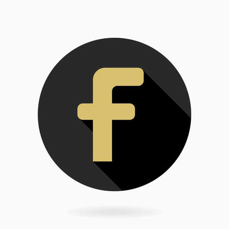 Golden vector letter F in the black circle. Flat design and long shadow 向量圖像