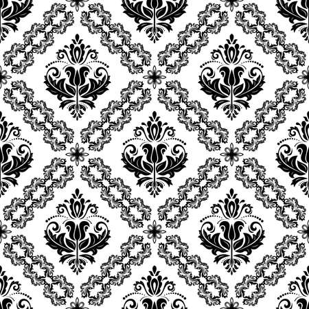 Orient black and white vector classic pattern. Seamless abstract background with vintage elements. Orient background. Ornament for wallpaper and packaging
