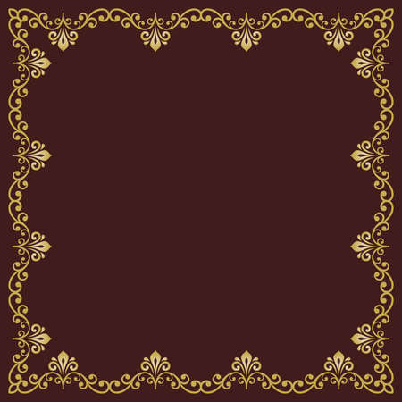 Classic vector square golden frame with arabesques and orient elements. Abstract brown and golden ornament with place for text. Vintage pattern