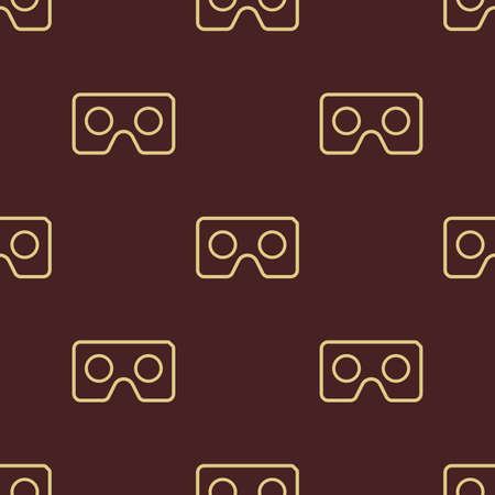 Seamless vector pattern with golden icon. Virtual reality golden icon.