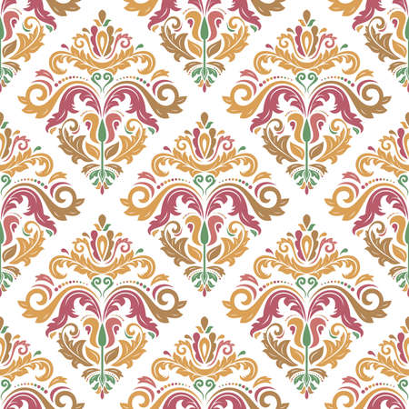 Classic seamless vector pattern. Damask orient ornament. Classic vintage background. Orient colored ornament for fabric, wallpaper and packaging 向量圖像