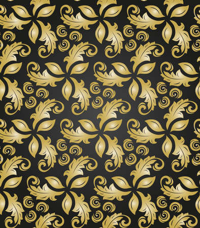 Floral vector ornament. Seamless abstract classic background with flowers. Pattern with golden floral elements. Ornament for fabric, wallpaper and packaging