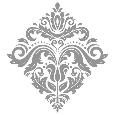 Oriental pattern with arabesques and floral elements. Traditional classic ornament with silver square. Vintage pattern with arabesques