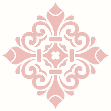 Oriental vector pattern with pink arabesques and floral elements. Traditional classic ornament with pink and white pattern. Vintage pattern with arabesques 向量圖像