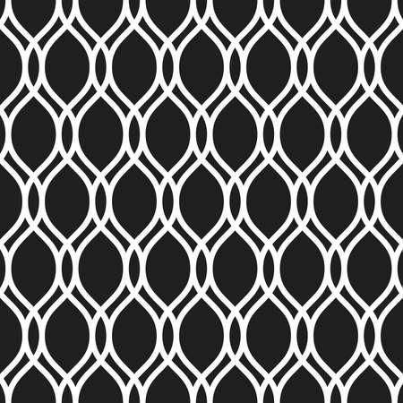 Seamless vector dark ornament. Modern background. Geometric modern pattern with white wavy lines 向量圖像