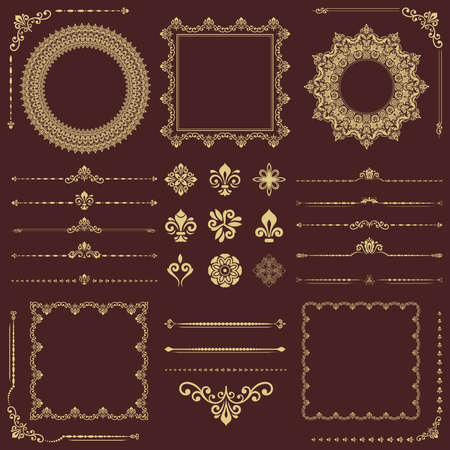 Vintage set of vector horizontal, square and round golden elements. Different elements for backgrounds, frames and monograms. Classic golden patterns. Set of vintage patterns
