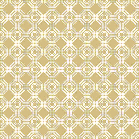 Geometric abstract vector octagonal background. Geometric abstract golden and white ornament. Seamless modern pattern