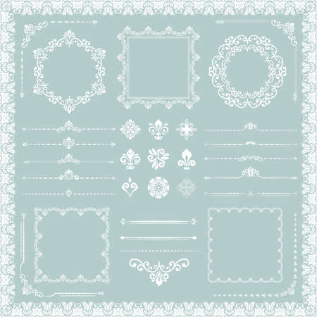 Vintage set of vector horizontal, square and round elements. Different elements for backgrounds, frames and monograms. Classic patterns. Set of vintage light blue and white patterns