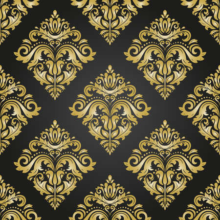Orient vector classic black and golden pattern. Seamless abstract background with vintage elements. Orient golden background. Ornament for wallpaper and packaging