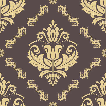 Classic seamless vector pattern. Damask orient ornament. Classic golden vintage background. Orient ornament for fabric, wallpaper and packaging