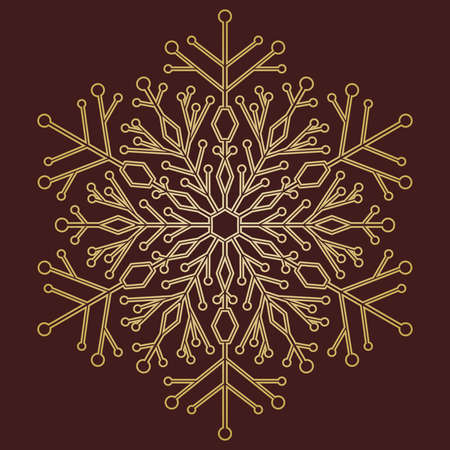 Round vector snowflake. Abstract winter golden ornament. Fine snowflake