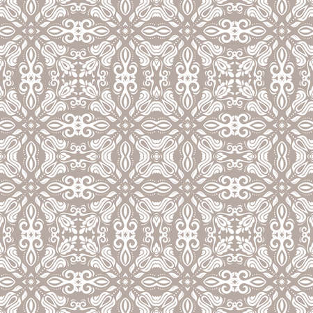 Classic seamless vector white pattern. Damask orient ornament. Classic vintage background. Orient beige and white ornament for fabric, wallpaper and packaging