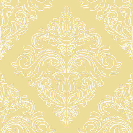 Orient vector classic yellow and white dotted pattern. Seamless abstract background with vintage elements. Orient background. Ornament for wallpaper and packaging 向量圖像