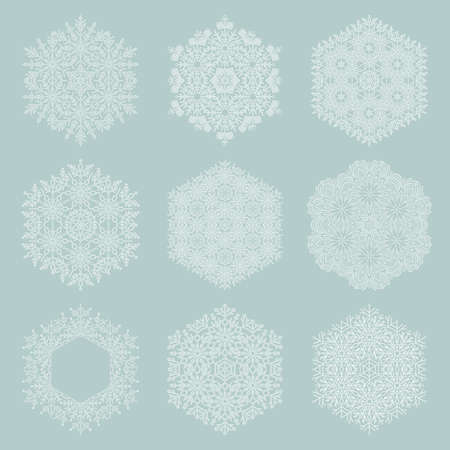 Set of vector white snowflakes. Fine winter white ornaments. Snowflakes collection. Snowflakes for backgrounds and designs