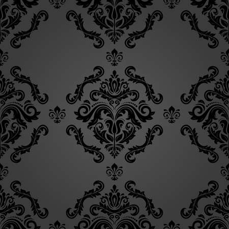 Classic seamless vector pattern. Damask orient ornament. Classic vintage black background. Orient ornament for fabric, wallpaper and packaging 向量圖像