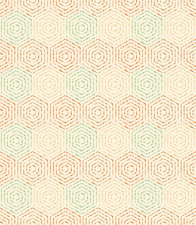 Geometric repeating vector ornament with hexagonal dotted colored elements. Geometric modern colored ornament. Seamless abstract modern pattern 向量圖像