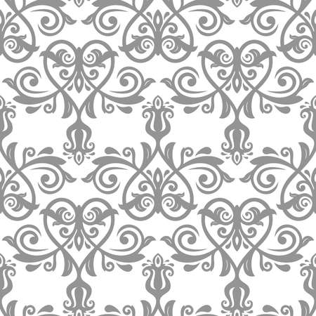 Classic seamless vector gray and white pattern. Damask orient ornament. Classic vintage background. Orient ornament for fabric, wallpaper and packaging 向量圖像