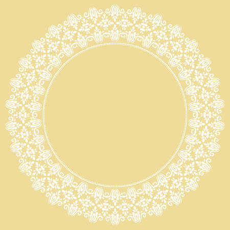 Oriental vector round frame with arabesques and floral elements. Floral white border with vintage pattern. Greeting card with place for text 向量圖像