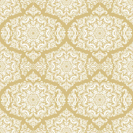 Orient vector classic pattern. Seamless abstract golden and white background with vintage elements. Orient background. Ornament for wallpaper and packaging 向量圖像