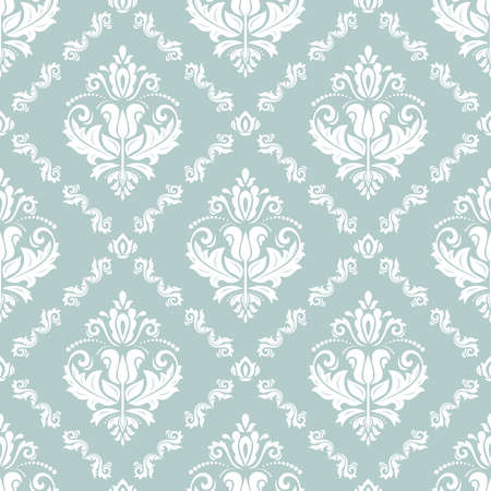 Classic seamless vector light blue and white pattern. Damask orient ornament. Classic vintage background. Orient ornament for fabric, wallpaper and packaging