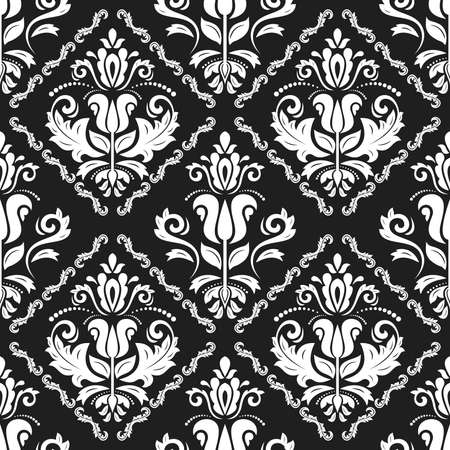 Classic seamless vector pattern. Damask orient ornament. Classic vintage black and white background. Orient ornament for fabric, wallpaper and packaging