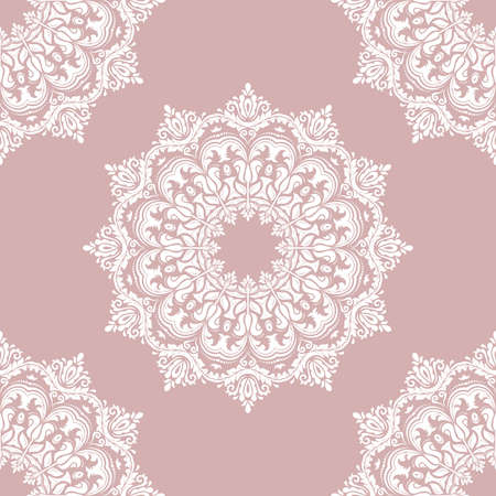 Classic seamless vector purple and white pattern. Damask orient ornament. Classic vintage background. Orient ornament for fabric, wallpaper and packaging