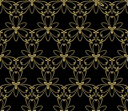 Floral vector black and golden ornament. Seamless abstract classic background with golden flowers. Pattern with repeating floral elements. Ornament for fabric, wallpaper and packaging