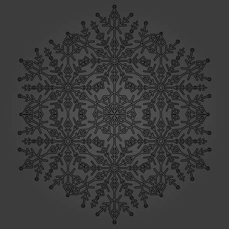 Round vector black snowflake. Abstract winter ornament. Black snowflake