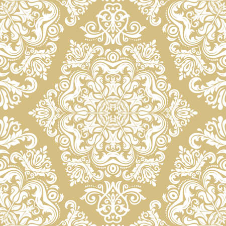 Orient vector classic golden and white pattern. Seamless abstract background with white vintage elements. Orient background. Ornament for wallpaper and packaging