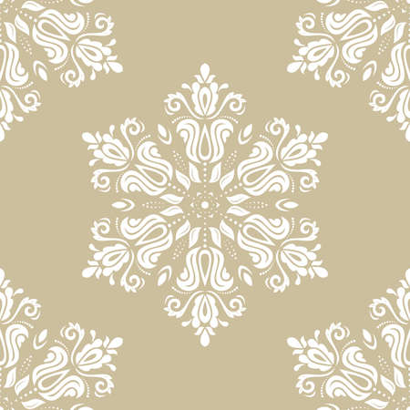 Classic seamless vector pattern. Damask orient round white ornament. Classic vintage background. Orient ornament for fabric, wallpaper and packaging