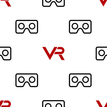 Seamless vector black and white pattern with red VR icon. Virtual reality icon 向量圖像