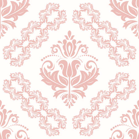 Classic pink and white seamless vector pattern. Damask orient ornament. Classic vintage background. Orient ornament for fabric, wallpaper and packaging