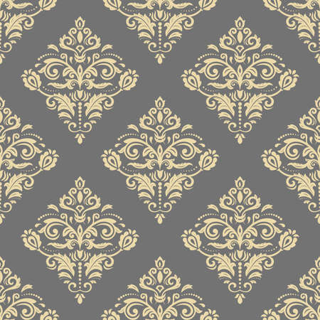 Orient vector classic pattern. Seamless abstract gray and golden background with vintage elements. Orient background. Ornament for wallpaper and packaging 向量圖像
