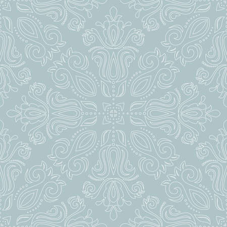 Classic seamless vector pattern. Damask orient ornament. Classic vintage light blue and white background. Orient ornament for fabric, wallpaper and packaging 向量圖像