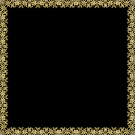 Classic vector square golden frame with arabesques and orient elements. Abstract ornament with place for text. Vintage pattern 向量圖像