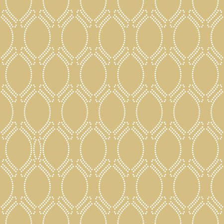Seamless vector ornament. Modern wavy dotted background. Geometric modern golden and white dotted pattern 向量圖像