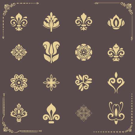 Vintage set of vector golden elements. Different elements for backgrounds, frames and monograms. Classic patterns. Set of vintage patterns 向量圖像
