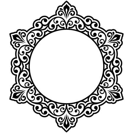 Oriental vector round frame with black arabesques and floral elements. Floral black and white border with vintage pattern. Greeting card with place for text Illustration