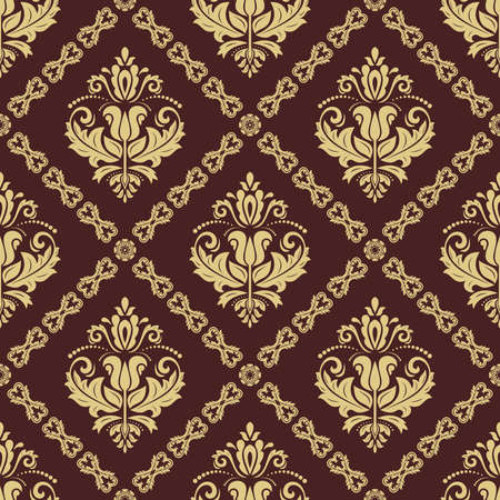 Orient brown and golden vector classic pattern. Seamless abstract background with vintage elements. Orient background. Ornament for wallpaper and packaging 向量圖像