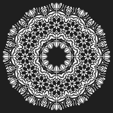 Elegant vintage vector ornament in classic style. Abstract traditional round white pattern with oriental elements. Classic vintage black and white pattern Illustration