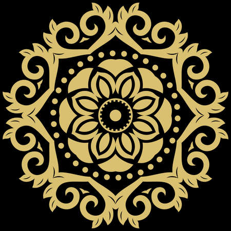 Oriental vector pattern with arabesques and floral elements. Traditional classic round golden ornament. Vintage black and golden pattern with arabesques
