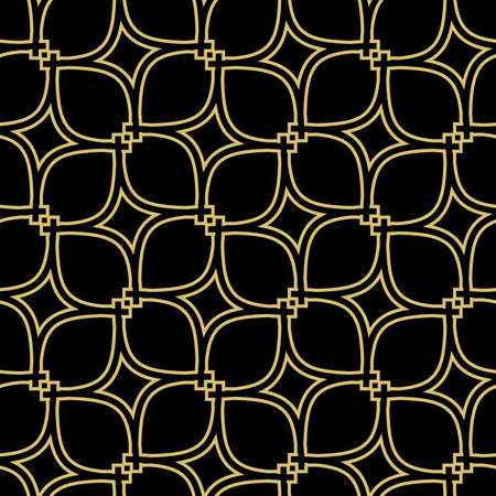 Seamless vector ornament. Modern black and golden background. Geometric modern pattern Illustration