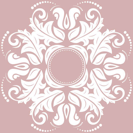 Elegant vintage vector purple and white ornament in classic style. Abstract traditional pattern with oriental elements. Classic vintage pattern Illustration