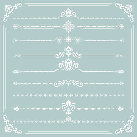 Vintage set of vector decorative elements. Horizontal separators in the frame. Collection of different ornaments. Classic white patterns. Set of vintage patterns 向量圖像