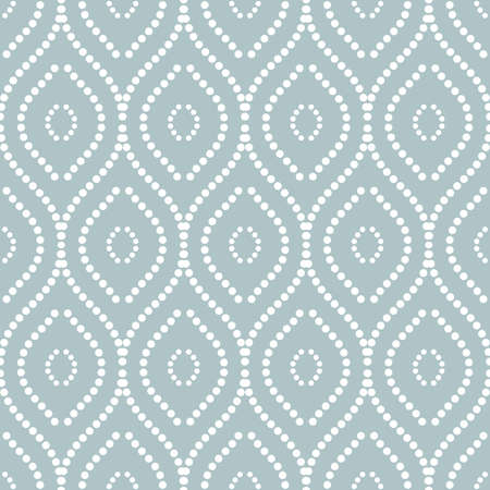 Seamless vector dotted ornament. Modern light blue and white background. Geometric modern pattern