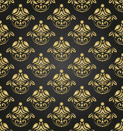 Orient vector classic pattern. Seamless abstract background with vintage elements. Orient black and golden background. Ornament for wallpaper and packaging