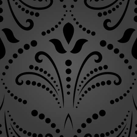 Floral vector black ornament. Seamless abstract classic background with flowers. Pattern with repeating floral elements. Dark ornament for fabric, wallpaper and packaging 向量圖像