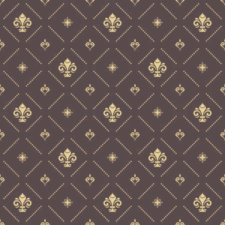 Seamless vector pattern. Modern geometric ornament with royal lilies. Brown and golden classic vintage background