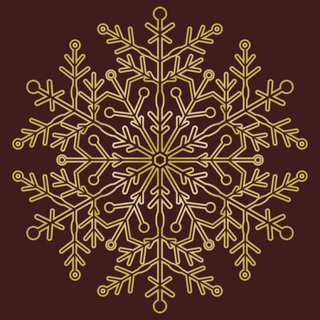 Round vector snowflake. Abstract winter golden ornament. Golden snowflake 向量圖像